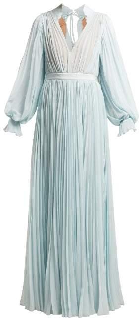 Self-Portrait Self Portrait Pleated Chiffon Maxi Dress - Womens - Light Blue