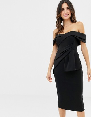 Bardot ASOS DESIGN Fold Wrap Front Midi Pencil Dress