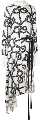 Monse Rope Print Pleated Skirt-Shirt Dress