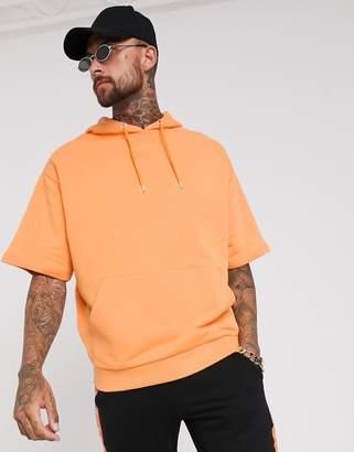 Asos Design DESIGN oversized short sleeve hoodie in bright orange