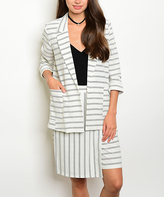 Ivory & Black Stripe Jacket & Skirt Set