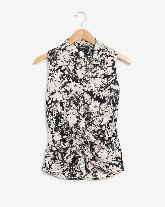 Express Floral Tie Front Tank