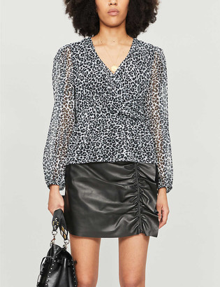 The Kooples Leopard-print V-neck crepe blouse