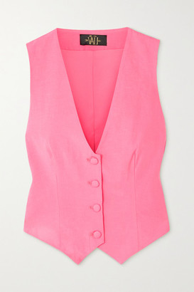 De La Vali Screamin' Tencel And Linen-blend Vest - Pink