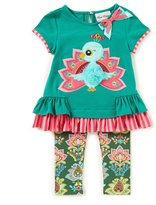 Rare Editions Little Girls 2T-6X Peacock-Applique Bow Top & Patterned Leggings Set