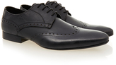H By Hudson Mint Black Brogue 2 Leather Derby Shoe
