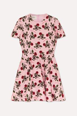 Valentino Floral-print Wool And Silk-blend Cady Mini Dress - Pink