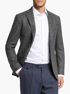 John Lewis & Partners Woven in Scotland Windowpane Check Tailored Blazer
