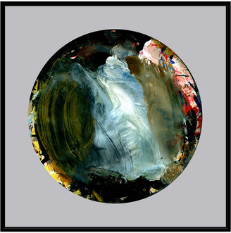 Jonathan Bass Studio Painterly Circle On Grey H, Decorative Framed Hand Embellished Canvas