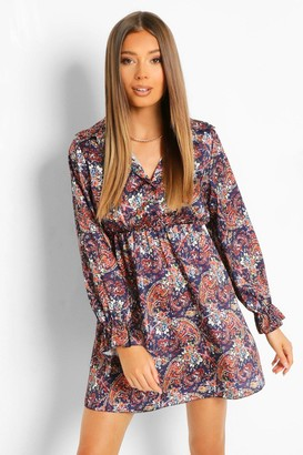 boohoo Paisley Print Button Skater Dress