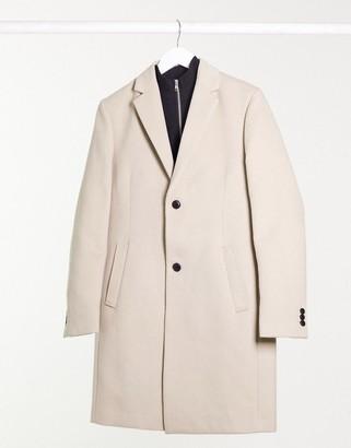 Topman faux-wool overcoat in ecru