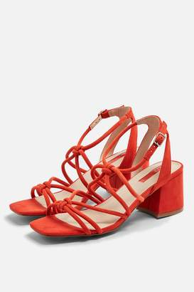 Topshop Womens Sydney Leather Red Tubular Sandals - Red