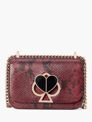 Kate Spade Nicola Leather Chain Twistlock Shoulder Bag, Cherrywood Snake