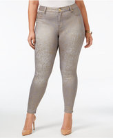 Celebrity Pink Trendy Plus Size Metallic-Print Skinny Jeans