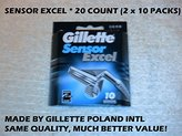 Gillette Sensor Excel Refill Cartridges 20 Count (2x10 Count)