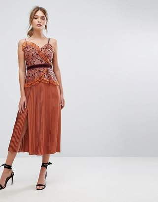 Three floor Cami Strap Midi Dress with Lace and Pleated Skirt-Orange