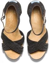 Toms Black Crochet Women's Strappy Wedges