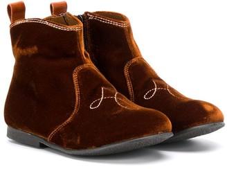 Pépé Kids Velvet Ankle Boots