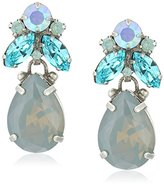 "Sorrelli Teal Textile"" Crystal Cluster Topped Pear Post Drop Earrings"