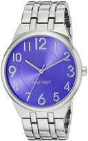 Nine West Women's NW/1757PESB Easy To Read Blue Dial Silver-Tone Bracelet Watch