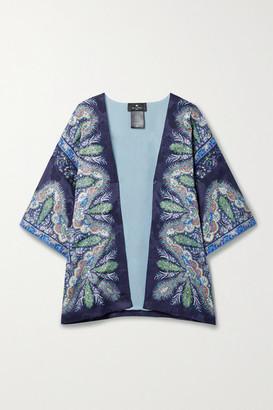 Etro Kesa Paisley-print Silk-satin Jacquard Wrap - Navy