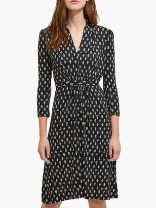 French Connection Rossine Long Sleeve Dress, Black/White
