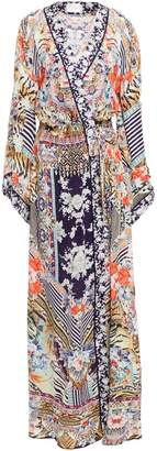 Camilla The Lonely Wild Embellished Patchwork-effect Silk Crepe De Chine Maxi Wrap Dress