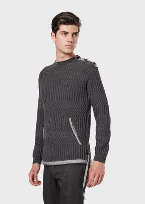 Emporio Armani Pure Virgin Wool Sweater With Opening At The Shoulder