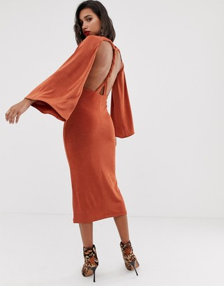 Asos Design DESIGN twist open back midi dress-Brown