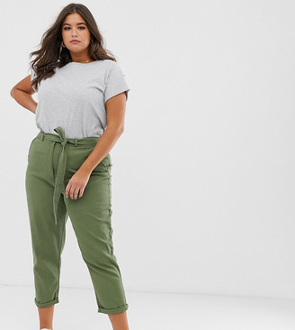 Asos DESIGN Curve washed soft twill tie waist casual pants-Green