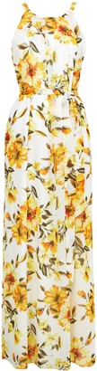Wallis Ivory Floral Print Pleated Maxi Dress