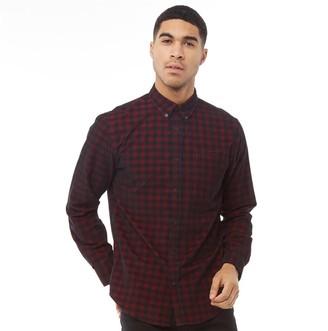 Ben Sherman Long Sleeve Check Cord Shirt Wine