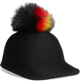 Eugenia Kim Bo Faux Fur-trimmed Wool-felt Cap - Black