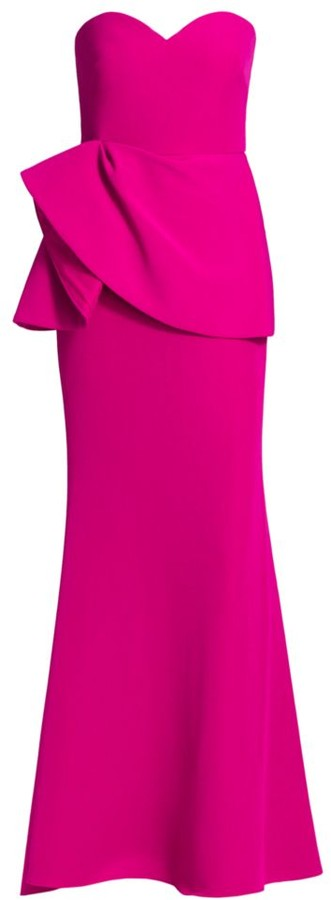 Badgley Mischka Ruffle Strapless Gown