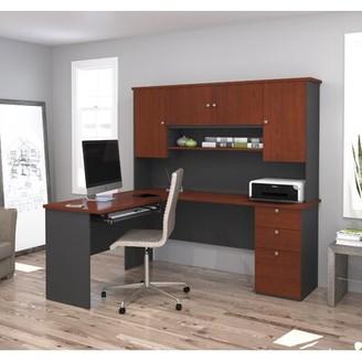 Red Barrel Studioâ® Cabell Reversible Executive Desk with Hutch Red Barrel StudioA Finish: Bordeaux/Graphite