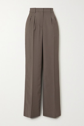 LOULOU STUDIO Sbiru Pleated Wool Straight-leg Pants - Gray