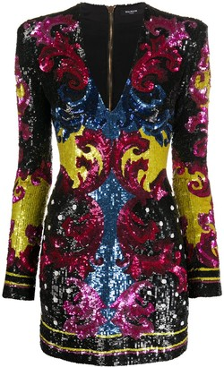 Balmain Baroque Embroidered Mini Dress