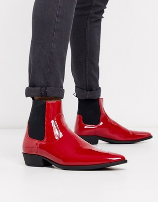 ASOS DESIGN stacked heel western boots in red patent faux leather