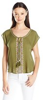 Eyeshadow Women's Woven Dolman Embroidery Top