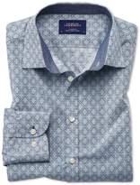 Charles Tyrwhitt Extra Slim Fit Light Grey Diamond Print Cotton Shirt Single Cuff Size Medium