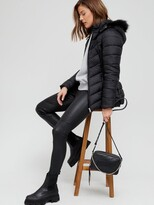 Thumbnail for your product : Very Short Padded Jacket with Faux Fur - Black