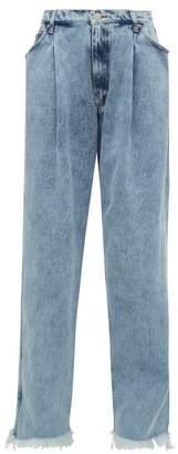Natasha Zinko Frayed Hem Straight Leg Jeans - Womens - Denim