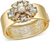 Charter Club Gold-Tone Crystal and Imitation Pearl Hinged Bangle Bracelet, Only at Macy's