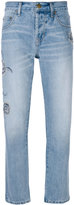 Current/Elliott embroidered straight-leg jeans - women - Cotton/Polyester - 25