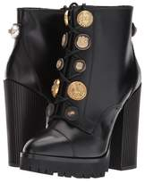 Dolce & Gabbana Leather Bootie with Button Lace-Up Women's Lace-up Boots