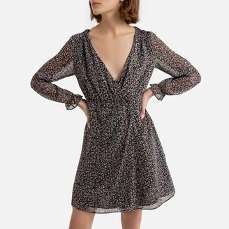 Naf Naf Long-Sleeved Mini Dress with Wrapover V-Neck