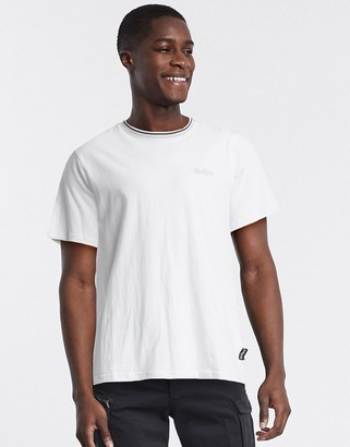 Kickers classic small logo t-shirt with rib neck in white