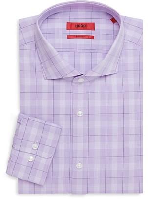 HUGO BOSS Sharp-Fit Plaid-Print Dress Shirt