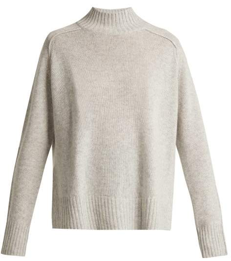 Allude High Neck Cashmere Sweater - Womens - Light Grey