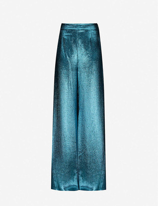 Roland Mouret Harrison metallic flared high-rise silk-blend trousers